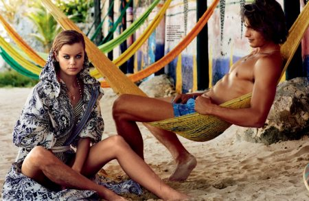 Frida Aasen Models Colorful Beach Style for Tatler Russia