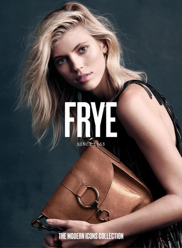 Model Devon Windsor poses with FRYE Ilana Saddle bag