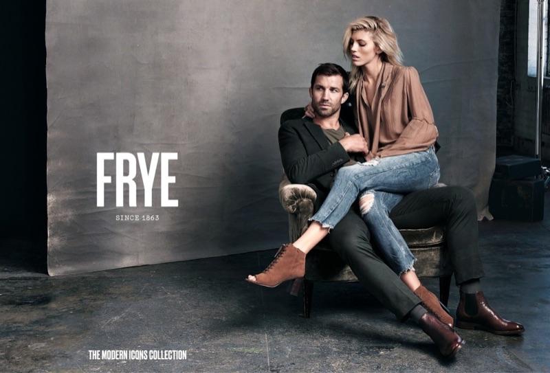 Posing with Luke Rockhold, Devon Windsor wears FRYE Amy Peep Toe Lace Bootie