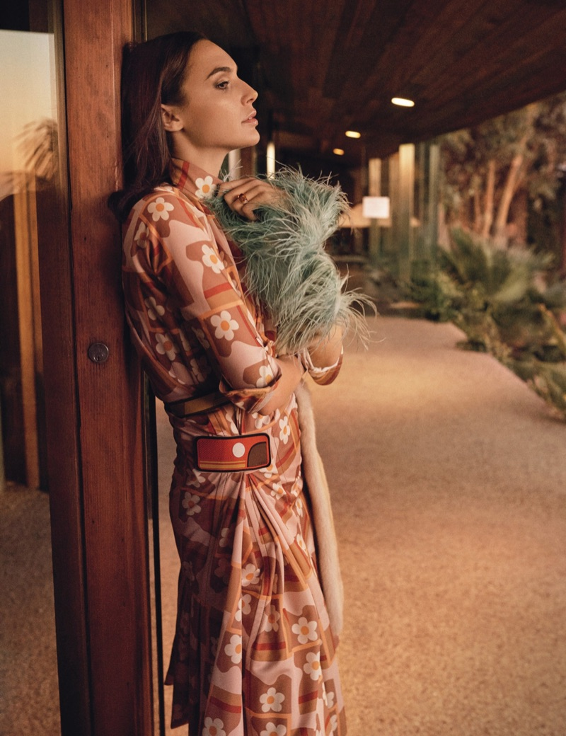 Wearing prints, Gal Gadot models Prada dress and stole with Bulgari ring
