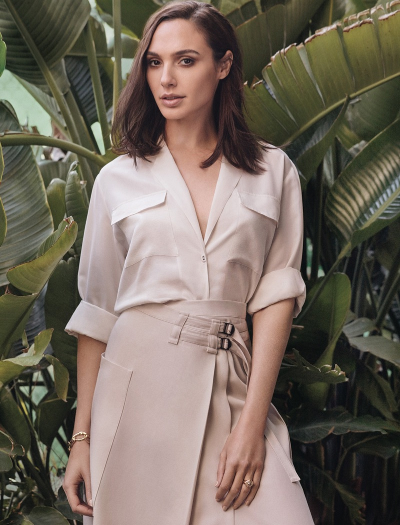 Embracing neutrals, Gal Gadot poses in button-up shirt and wraparound skirt