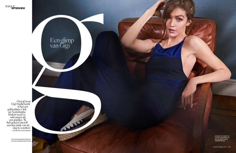 Lounging in style, Gigi Hadid wears TommyxGigi jumpsuit and espadrilles