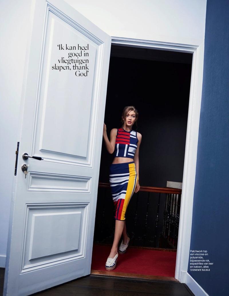 Gigi Hadid models TommyxGigi patchwork top, skirt and espadrilles