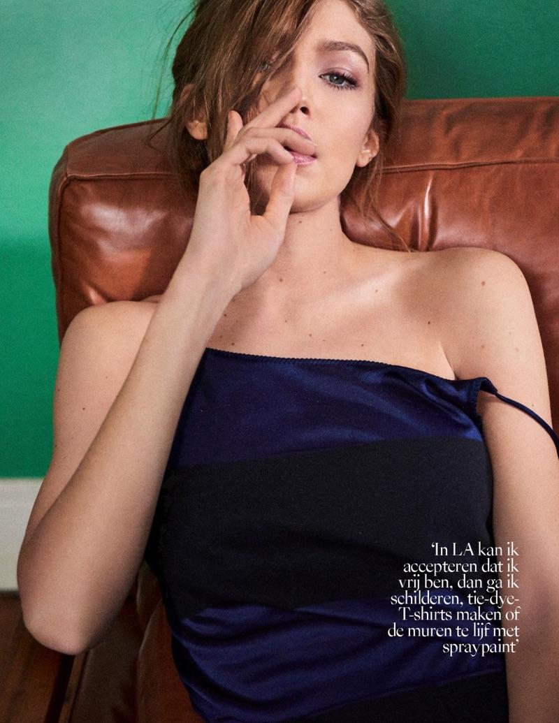 Flaunting some shoulder, Gigi Hadid wears TommyxGigi collection
