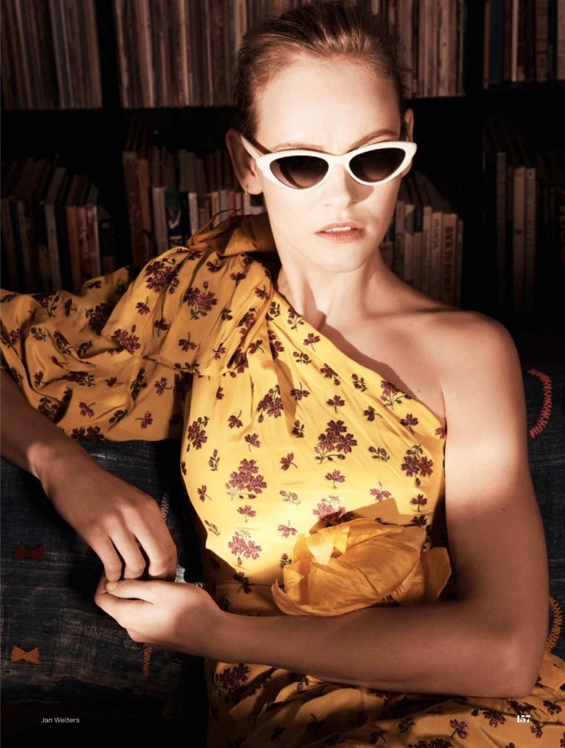 Embracing print, Ginta Lapina models Gucci silk dress and Black Eyewear sunglasses