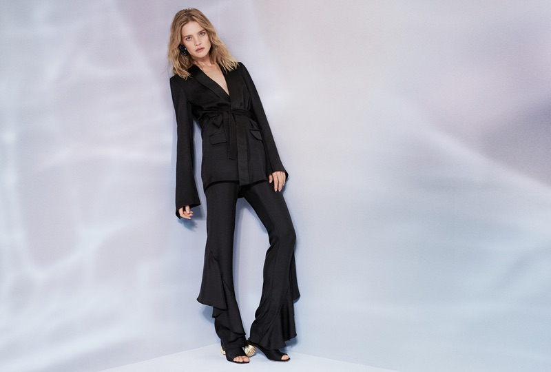 H&M Conscious Exclusive Silk-Blend Jacket $149, Silk-Blend Flounced Pants $129 and Mules $129