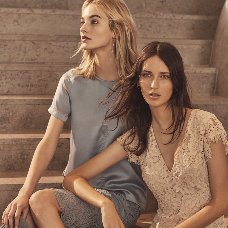 (Left) H&M Short-Sleeved Silk Blouse and Lace Pencil Skirt (Right) H&M Lace Dress
