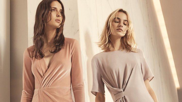 (Left) H&M Velour Dress and Shoulder Bag (Right) H&M Crêped Dress