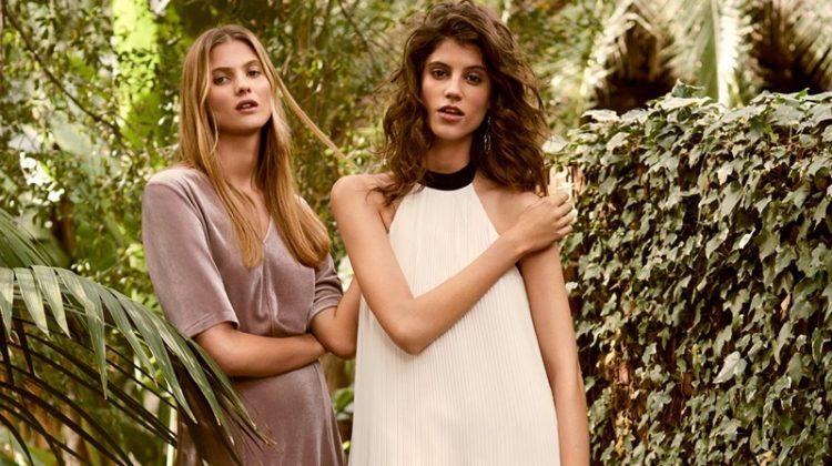 (Left) V-Neck Velour Dress (Right) H&M Pleated Dress and Shoulder Bag