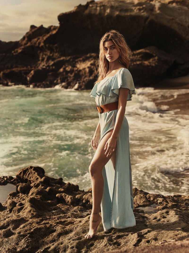 Hailey Baldwin models on-shoulder dress from Guess' spring 2017 collection