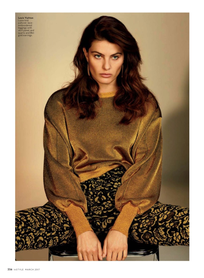 Isabeli Fontana poses in Louis Vuitton pullover sweater, lace leggings and earrings