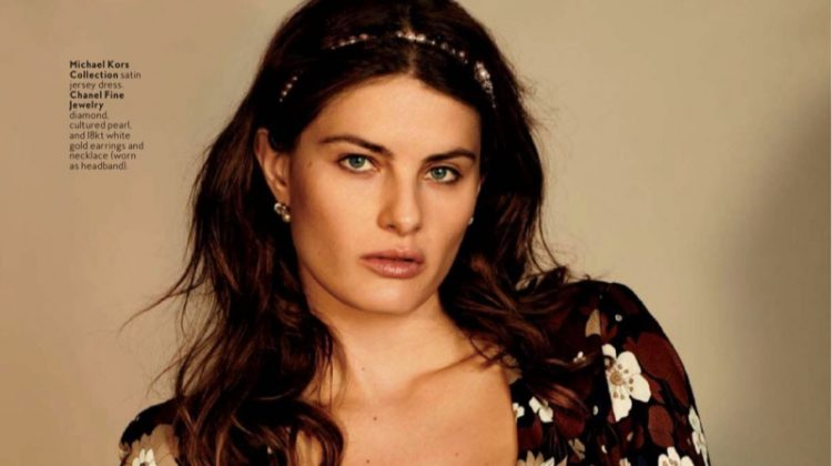 Isabeli Fontana models Michael Kors Collection floral print dress with Chanel Fine Jewelry necklace (worn as headband)