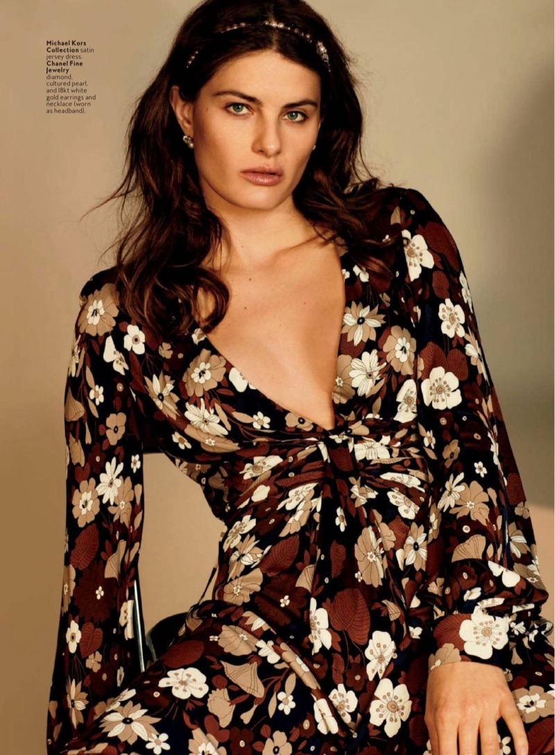 2017 05 fashion jersey dress -  Isabeli Fontana Models Michael Kors Collection Floral Print Dress With Chanel Fine Jewelry Necklace Worn