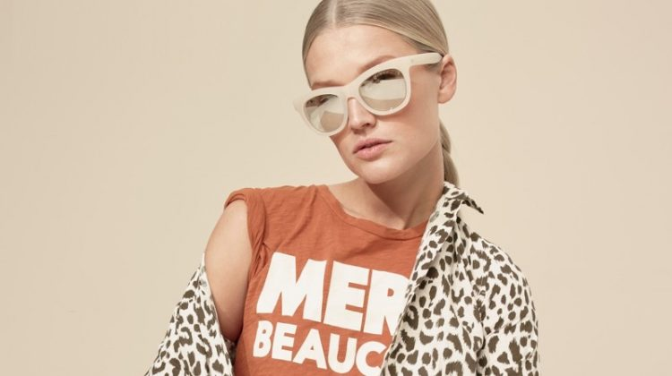 J. Crew Cotton-Linen Perfect Shirt in Leopard Print, Marci Beaucoup T-Shirt, Ruffled Short and Betty Sunglasses