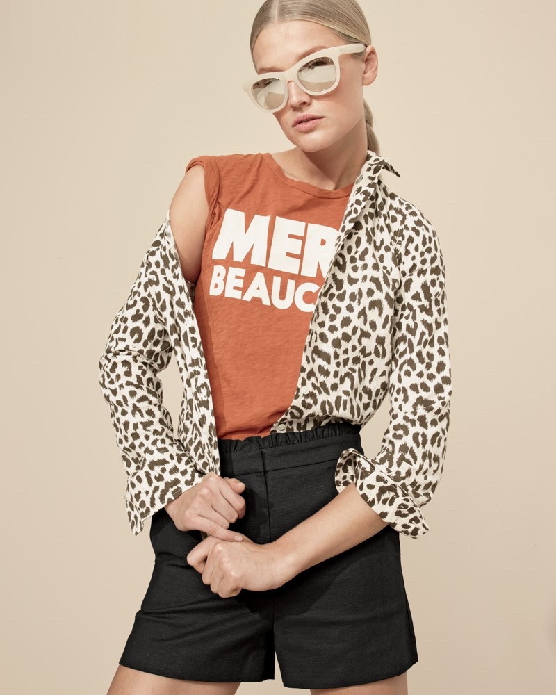 J. Crew Cotton-Linen Perfect Shirt in Leopard Print, Marci Beaucoup T-Shirt, Ruffled Short and Betty Sunglasses