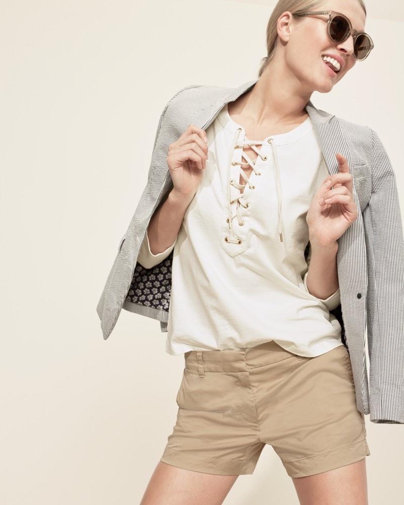 "J. Crew Regent Blazer in Seersucker, Lace-Up T-Shirt, 4"" Stretch Chino Short and Frankie Sunglasses"