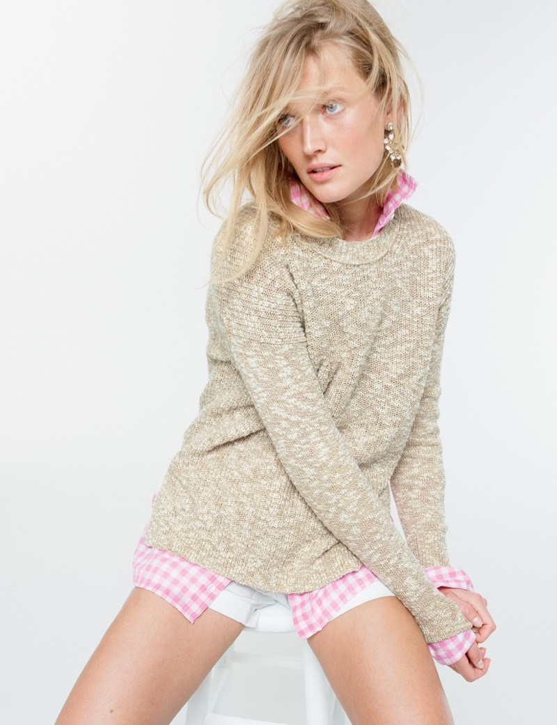 """J. Crew Oversized Marled Sweater in Cotton-Linen, Boy Shirt in Crinkle Gingham, 3"""" Stretch Chino Short and Lily Crystal Earrings"""