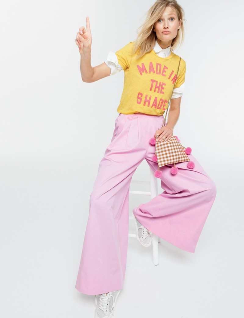 J. Crew Made in the Shade T-Shirt, New Perfect Shirt in Cotton Poplin, Collection Ultra Wide-Leg Cotton Pant, Tretorn Tournament Net Sneakers and Gaia for J. Crew Pom-Pom Bag in Gingham