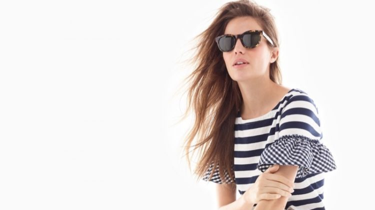 J. Crew Ruffle-Sleeve Top, High-Rise Denim Short in White, Lace-Up Espadrilles and Sam Sunglasses