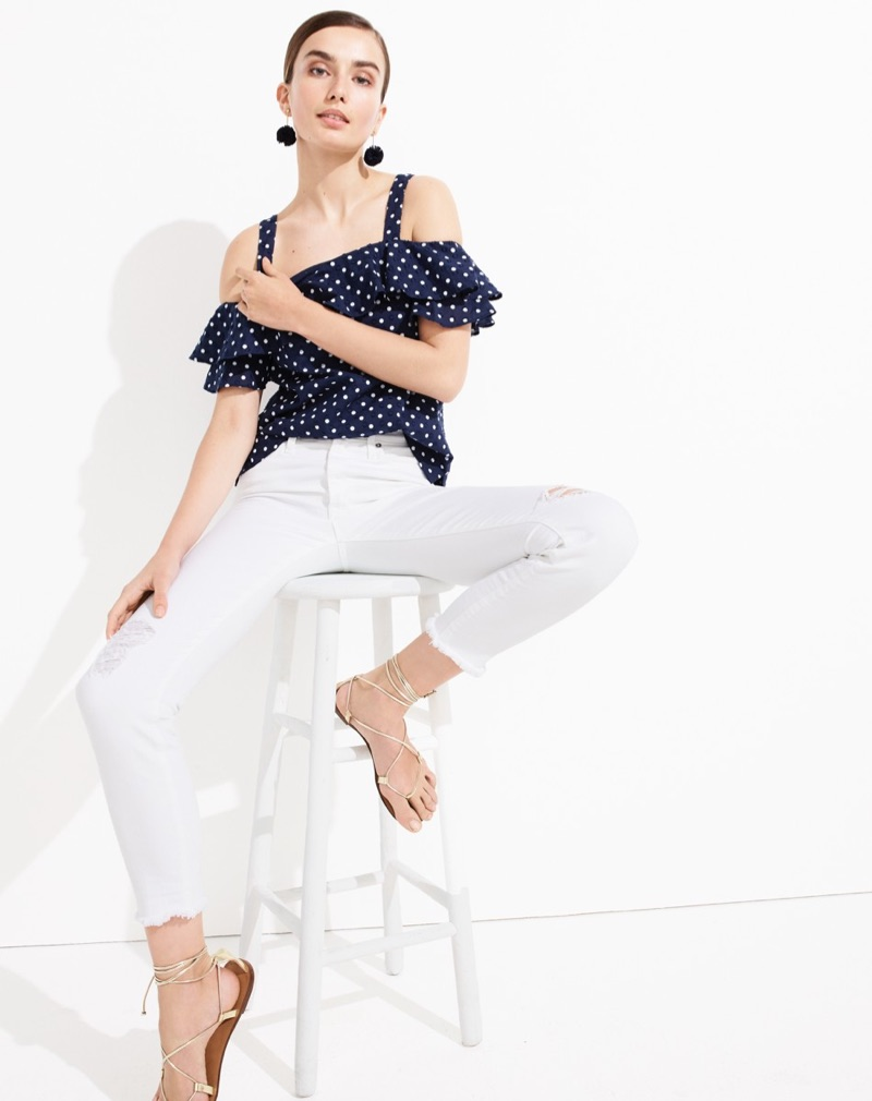 J. Crew Polka-Dot Cold-Shoulder Top, Vintage Crop Jean in Destroyed White, Metallic Lace-Up Sandals and Gathered Carnation Earrings