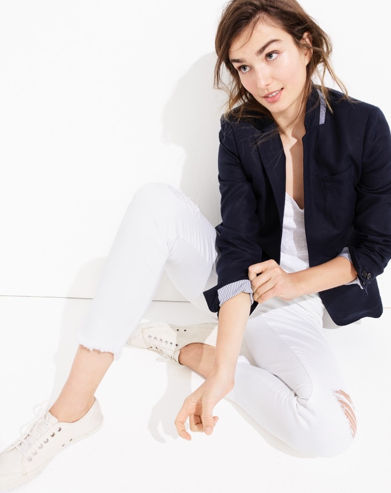 J. Crew Regent Blazer in Linen, Silk Scarf in Polka Dot and Stripe, Vintage Crop Jean in Destroyed White and Tretorn Canvas T56 Sneakers