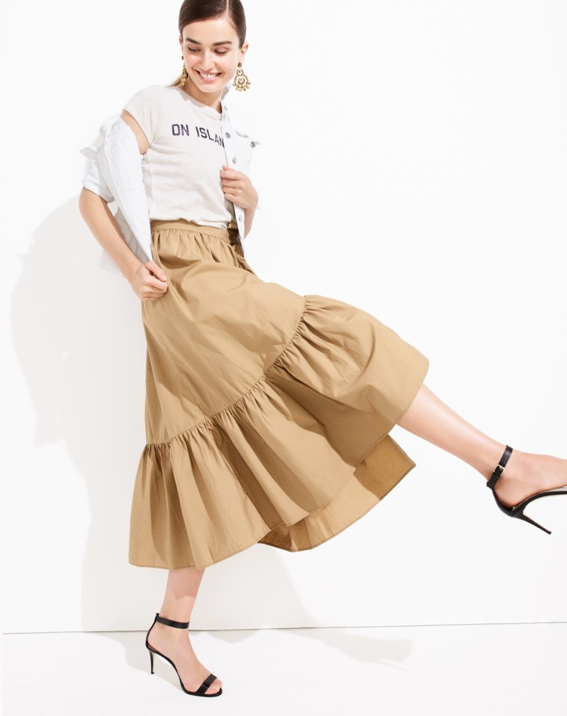 J. Crew Denim Jacket in White, On Island Time T-Shirt, Ruffle Wrap Skirt in Cotton Poplin, Beaded Rumba Earrings and High-Heel Ankle-Strap Sandals