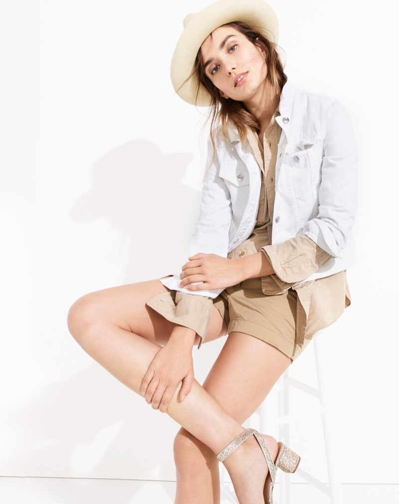 "J. Crew Panama Hat, Denim Jacket in White, Wallace & Barnes Makin Island Garment-Dyed Chino Shirt, 3"" Stretch Chino Short and Lottie Glitter Sandals"