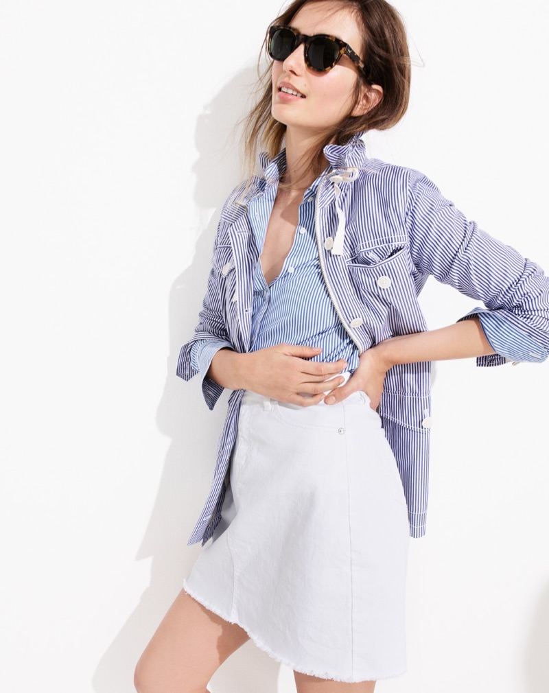 J. Crew Sam Sunglasses, Striped Utility Jacket, Stretch Perfect Shirt in Classic Stripe, White Denim Skirt with Raw Hem, SeaVees for J. Crew Legend Sneakers in Satin