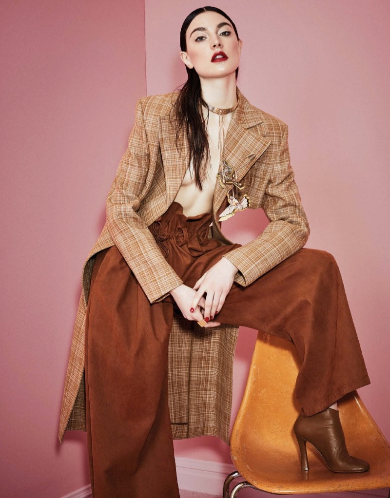 Jacquelyn Jablonski wears Celine coat and Stella McCartney pants