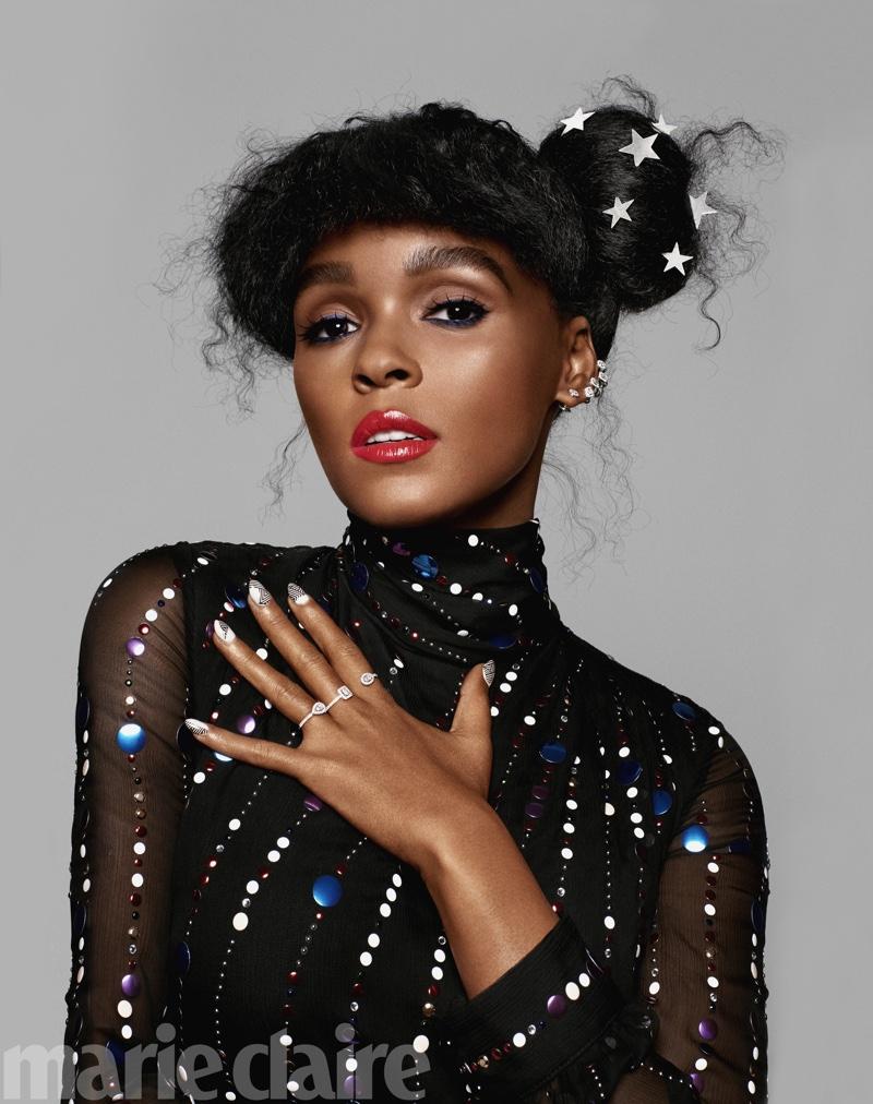 Janelle Monae sparkles in embellished top