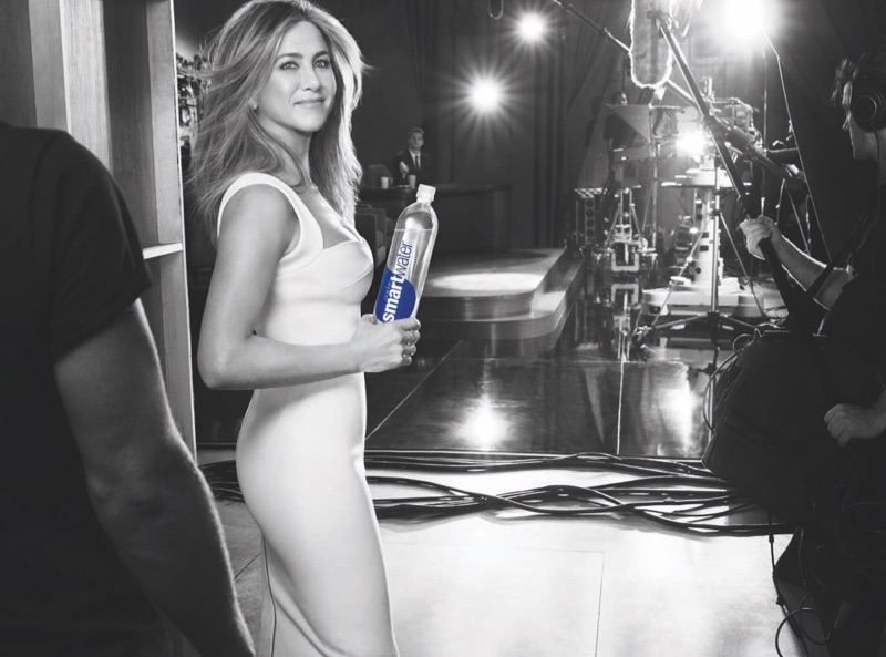 About to step on set, Jennifer Aniston stars in Smartwater campaign