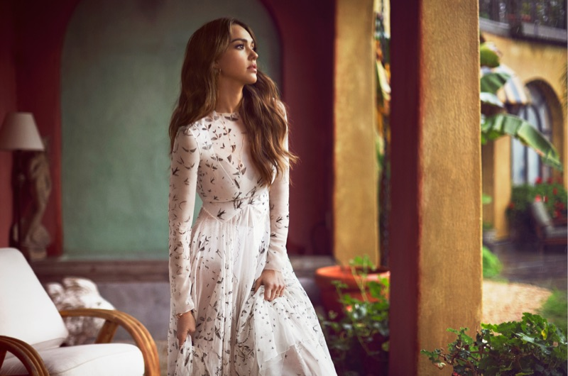 Actress Jessica Alba poses in Valentino printed gown
