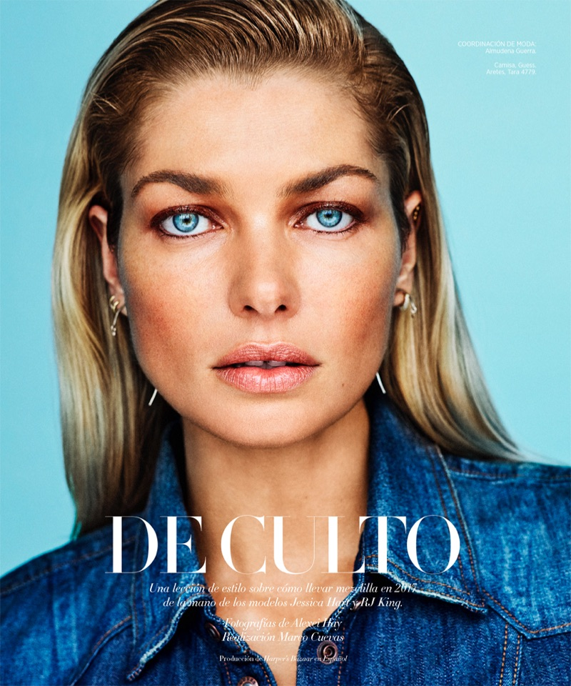 Photographed by Alexei Hay, Jessica Hart models Guess denim shirt and Tara earrings