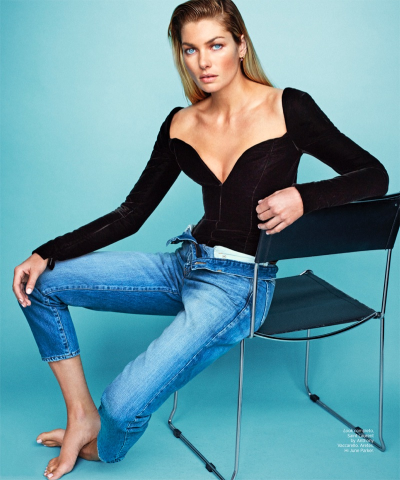 Jessica Hart models Saint Laurent top and denim jeans