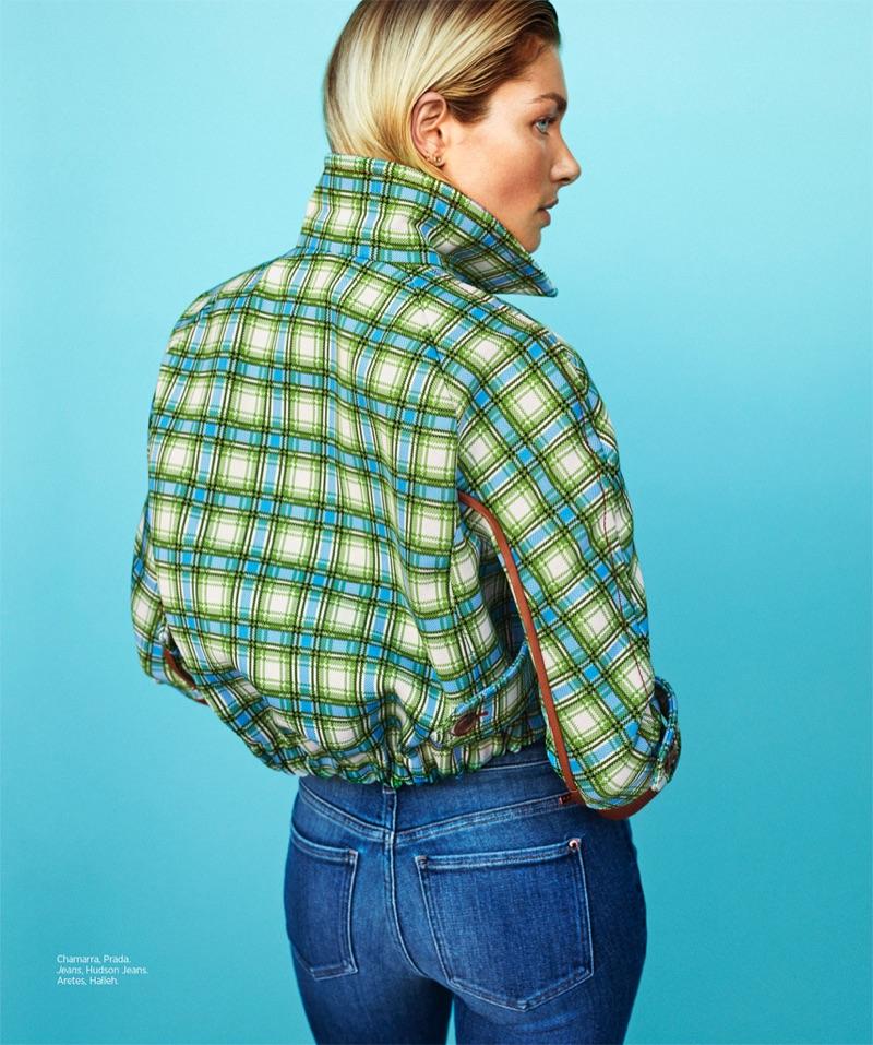 Jessica Hart poses in Prada jacket and Hudson Jeans denim