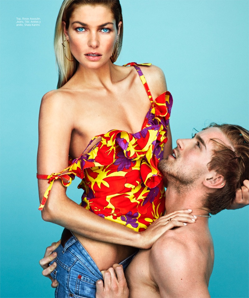 Flaunting some skin, Jessica Hart models Rose Assoulin top and Tibi jeans