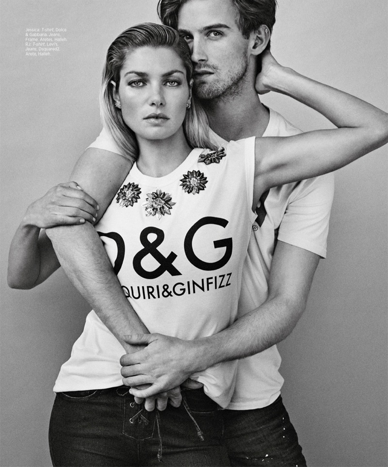Photographed in black and white, Jessica Hart models Dolce & Gabbana t-shirt and Frame jeans. RJ King wears Levi's t-shirt and Levi's jeans.