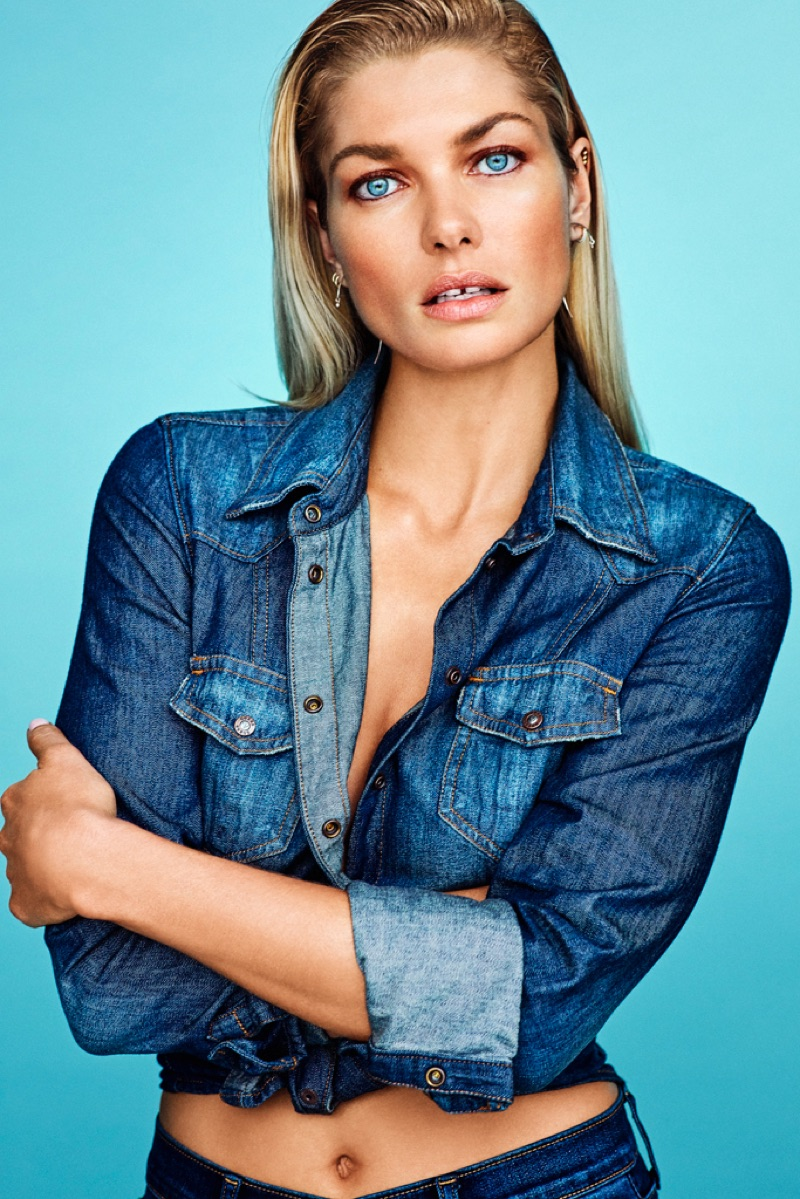 Model Jessica Hart wears denim on denim style
