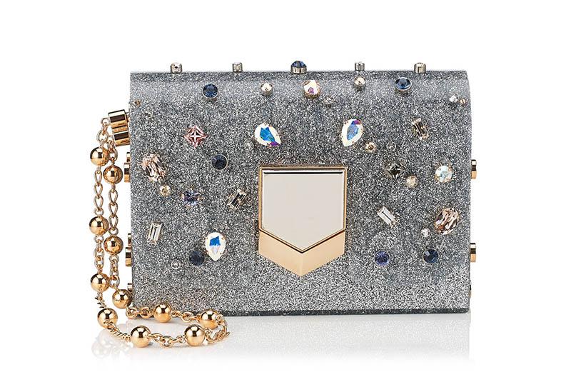 Jimmy Choo Lockett Minaudiere Silver Glitter Clutch Bag $3,095