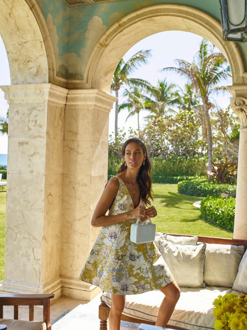 Joan Smalls models brocade a-line dress from Fendi