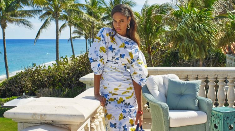 Joan Smalls poses poolside in printed dresses