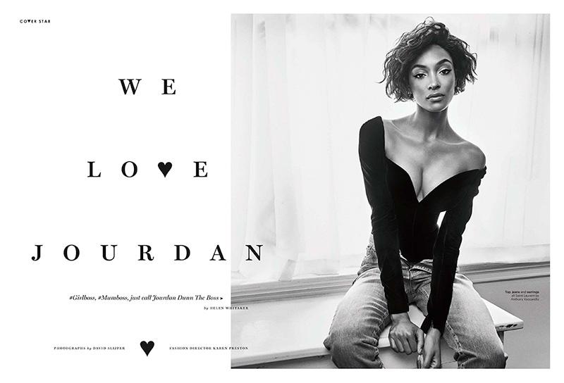 Model Jourdan Dunn wears Saint Laurent top, jeans and earrings