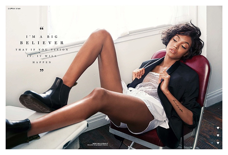 Lounging in style, Jourdan Dunn models Alexander Wang jacket, top and shorts with Dr Martens boots