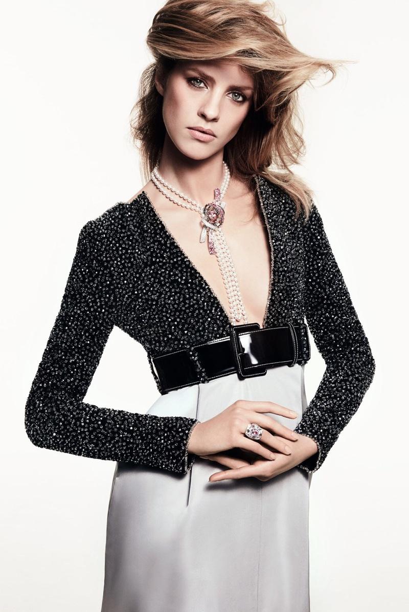 Julia Frauche stars in Harper's Bazaar China's April issue