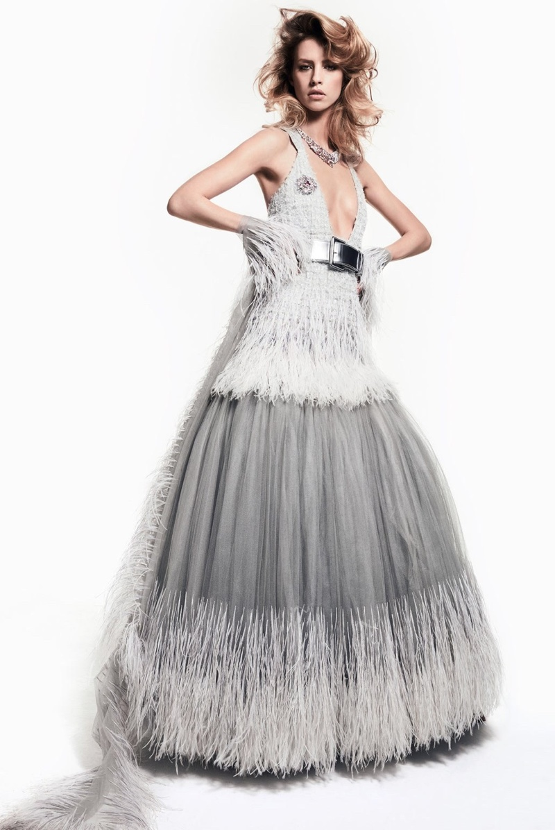 Julia Frauche models Chanel Haute Couture gown with feather embellishments