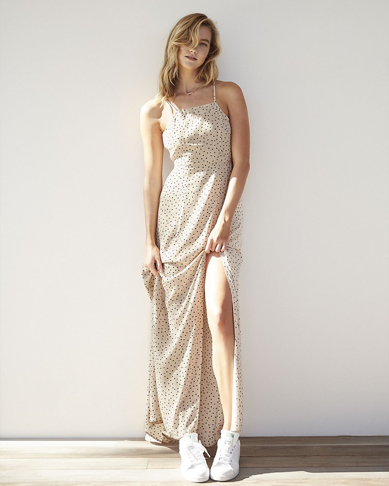 Karlie Kloss for Express Dot Print Tie Back Maxi Dress $88