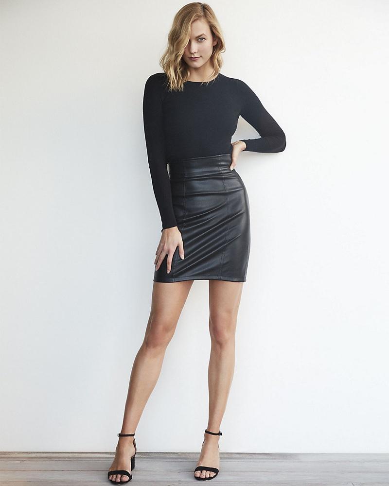 Karlie Kloss for Express High Waisted (Minus The) Leather Mini Skirt $49.90