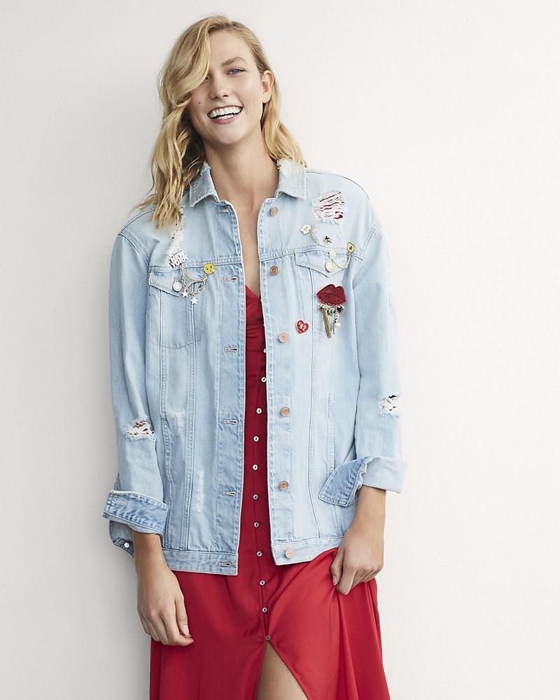 Karlie Kloss for Express Oversized Destroyed Embellished Denim Jacket $168