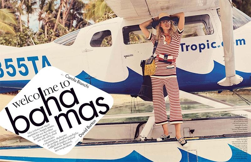 Embracing stripes, Karolina Kurkova wears Gucci knit top and pants
