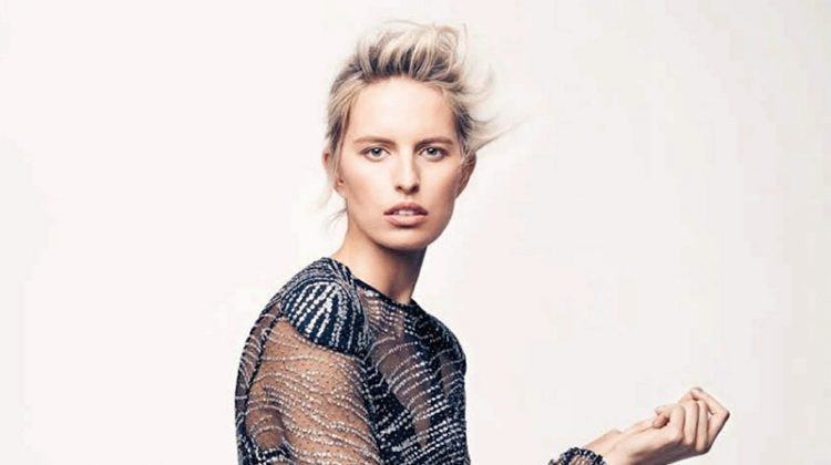 Model Karolina Kurkova wears sheer Louis Vuitton dress